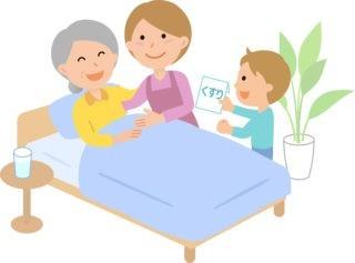 ベッドに横たわる高齢者と家族